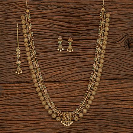 207514 Antique Temple Necklace With Matte Gold Plating