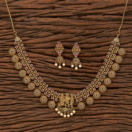 207515 Antique Temple Necklace With Matte Gold Plating