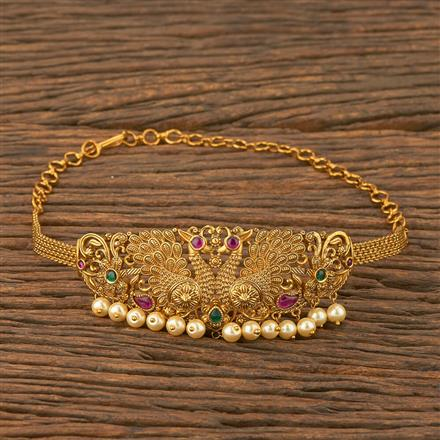 207549 Antique Peacock Baju Band With Matte Gold Plating