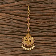207558 Antique Temple Tikka With Matte Gold Plating