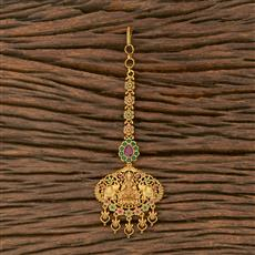 207559 Antique Temple Tikka With Matte Gold Plating