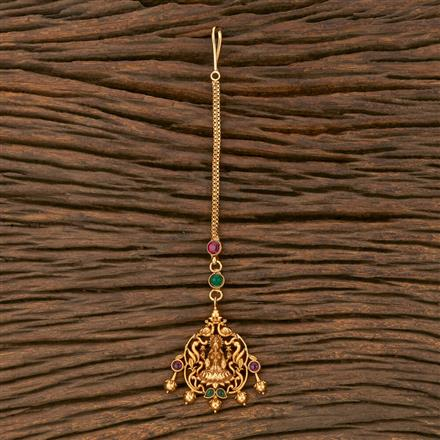 207562 Antique Temple Tikka With Matte Gold Plating
