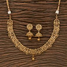 207643 Antique Temple Necklace With Matte Gold Plating