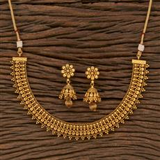 207644 Antique Delicate Necklace With Matte Gold Plating