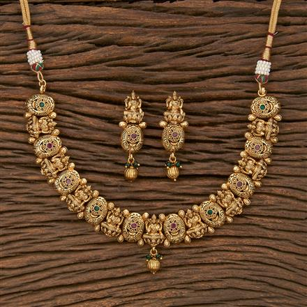 207645 Antique Temple Necklace With Matte Gold Plating