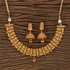 207647 Antique Temple Necklace With Matte Gold Plating