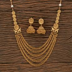 207649 Antique 2 Side Pendant Necklace With Gold Plating