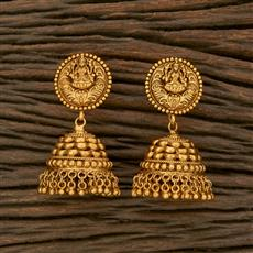 207651 Antique South Indian Earring With Matte Gold Plating