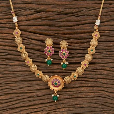 207669 Antique Delicate Necklace With Matte Gold Plating