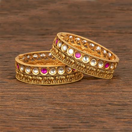207688 Antique Openable Bangles With Matte Gold Plating