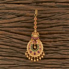 207698 Antique Temple Tikka With Matte Gold Plating