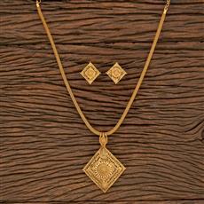 207703 Antique Plain Pendant Set With Gold Plating