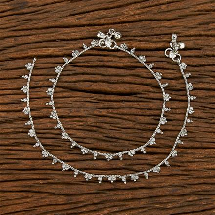 207737 Antique Delicate Payal With Rhodium Plating