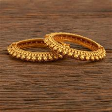207743 Antique Openable Bangles With Matte Gold Plating