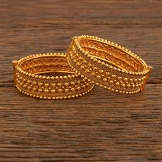 207744 Antique Openable Bangles With Matte Gold Plating