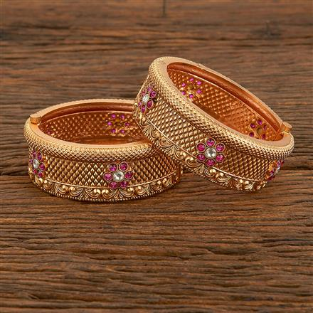 207772 Antique Openable Bangles With Matte Gold Plating