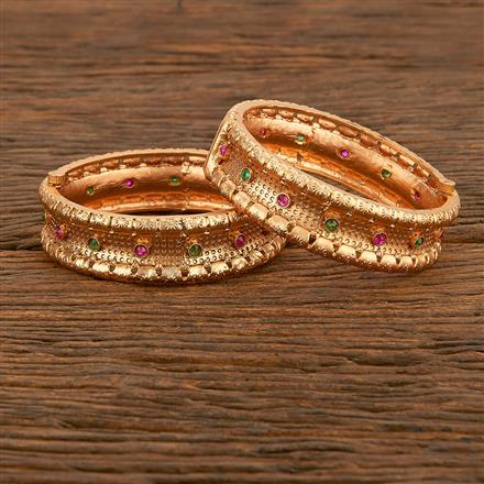 207773 Antique Openable Bangles With Matte Gold Plating