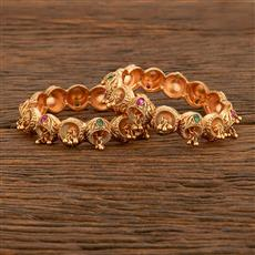 207774 Antique Openable Bangles With Matte Gold Plating