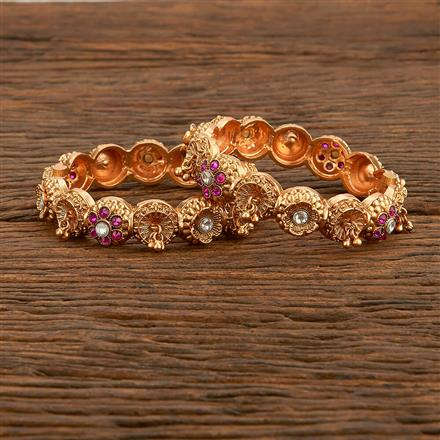 207776 Antique Openable Bangles With Matte Gold Plating