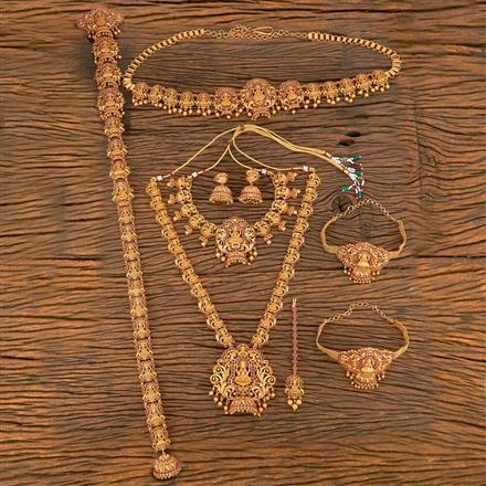 207784 Antique Bridal Sets With Matte Gold Plating