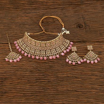 207789 Antique Choker Necklace With Mehndi Plating