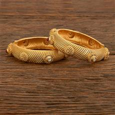 207794 Antique Openable Bangles With Matte Gold Plating