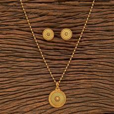 207796 Antique Plain Pendant Set With Gold Plating