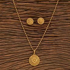 207797 Antique Plain Pendant Set With Gold Plating
