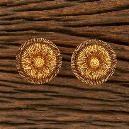 207800 Antique Plain Earring With Gold Plating