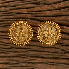 207801 Antique Plain Earring With Gold Plating