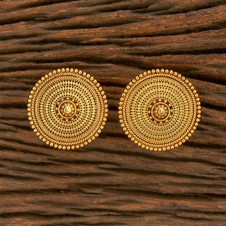 207802 Antique Plain Earring With Gold Plating