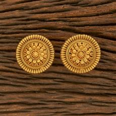 207803 Antique Plain Earring With Gold Plating