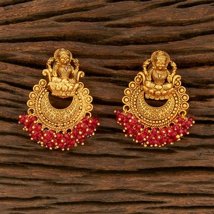207817 Antique Chand Earring With Matte Gold Plating