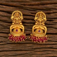 207818 Antique Temple Earring With Matte Gold Plating