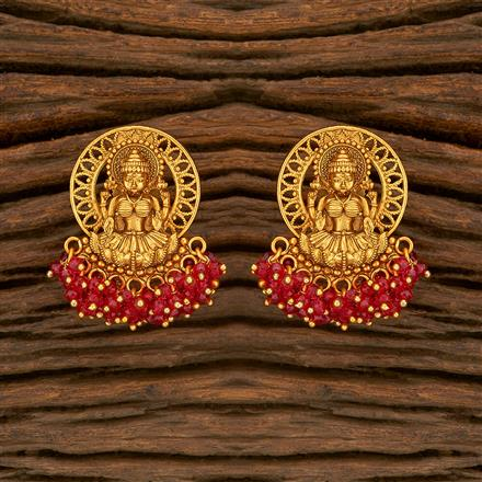 207819 Antique Temple Earring With Matte Gold Plating