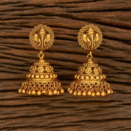 207821 Antique Jhumkis With Matte Gold Plating