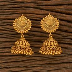 207822 Antique Jhumkis With Matte Gold Plating