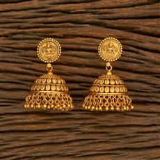 207823 Antique Jhumkis With Matte Gold Plating