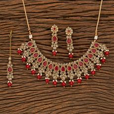 207824 Antique Classic Necklace With Mehndi Plating
