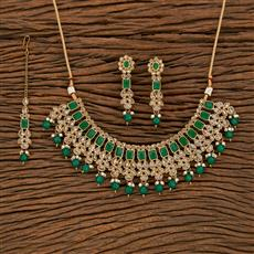 207825 Antique Classic Necklace With Mehndi Plating