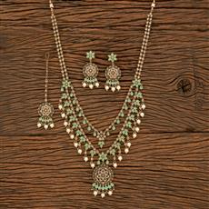 207860 Antique Long Necklace With Mehndi Plating