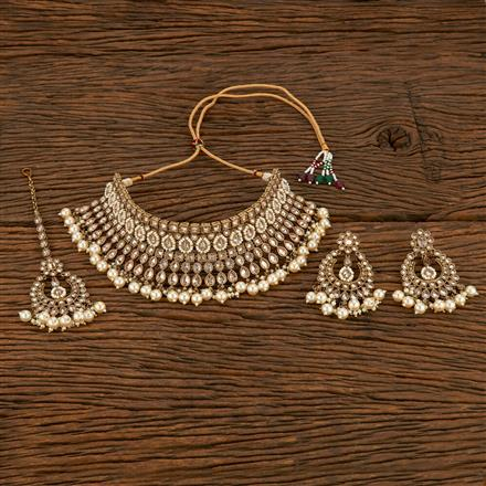 207862 Antique Choker Necklace With Mehndi Plating