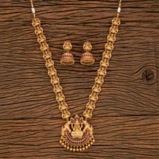 207872 Antique Long Necklace With Matte Gold Plating