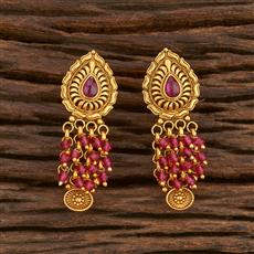 207873 Antique Delicate Earring With Matte Gold Plating