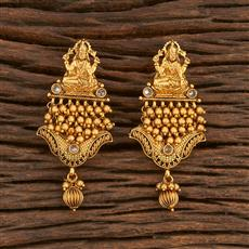 207875 Antique Temple Earring With Matte Gold Plating