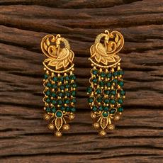 207876 Antique Peacock Earring With Matte Gold Plating