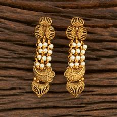 207877 Antique Delicate Earring With Matte Gold Plating