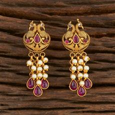 207878 Antique Peacock Earring With Matte Gold Plating