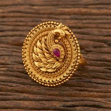 207880 Antique Peacock Ring With Matte Gold Plating