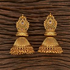 207896 Antique Peacock Earring With Matte Gold Plating